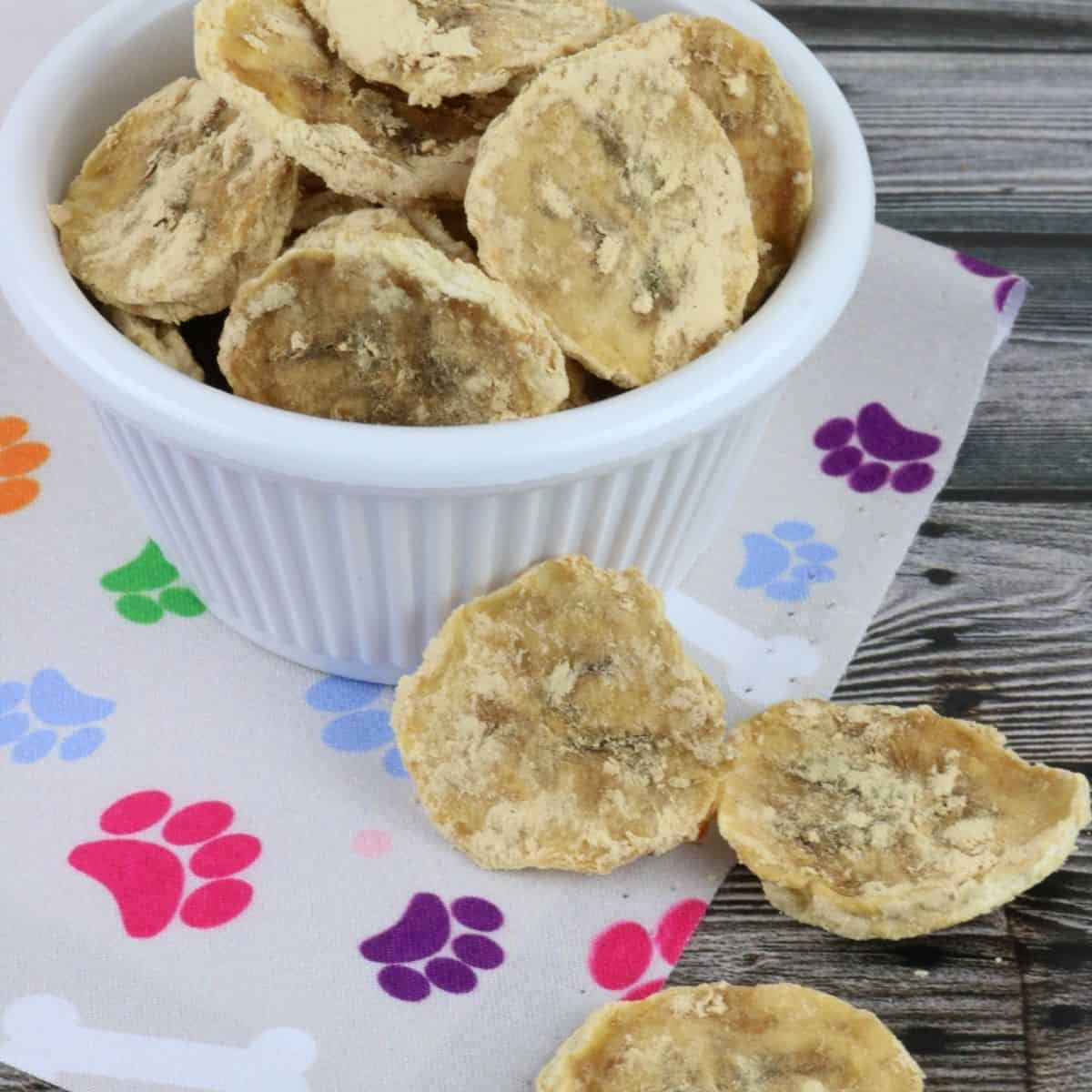 Dehydrated Peanut butter banana chips for dogs