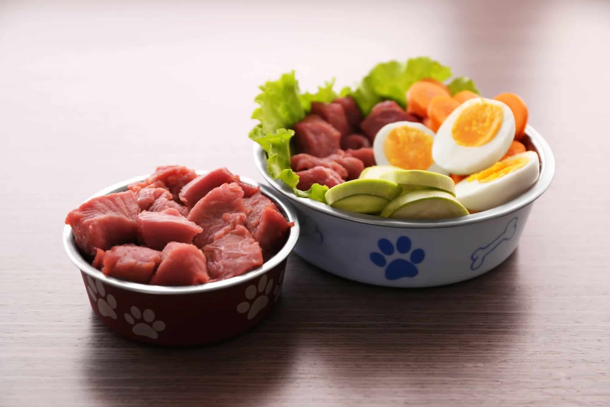 Dog meat and vegetables