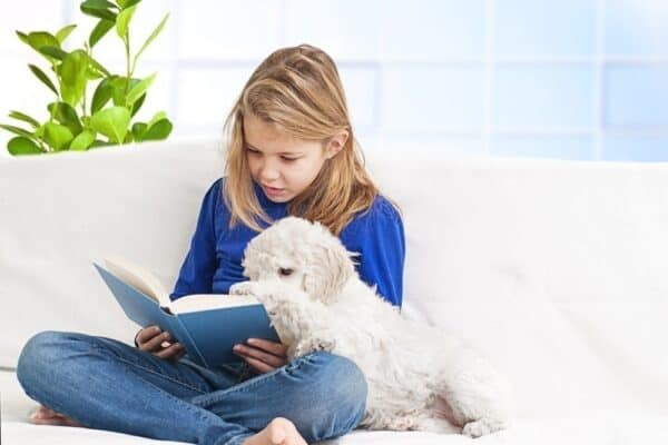 reading dog books to the dog
